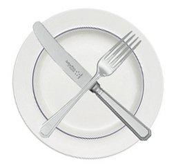 Ножик и вилка на тарелке